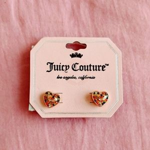 Juicy Couture heart pave studs rainbow colored NWT